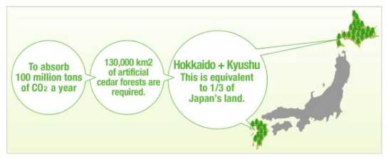 Hitachi's image of forest required to eliminate 100 million tons of CO2