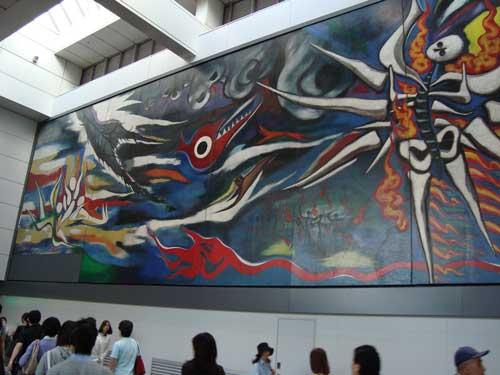 Okamoto Taro at Shibuya Mark City transit corridor