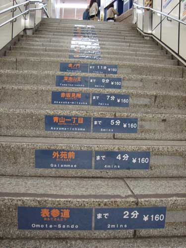 Shibuya station, Ginza line, schedule on steps