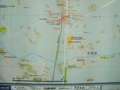 Walking map, Eifukucho station, Suginami