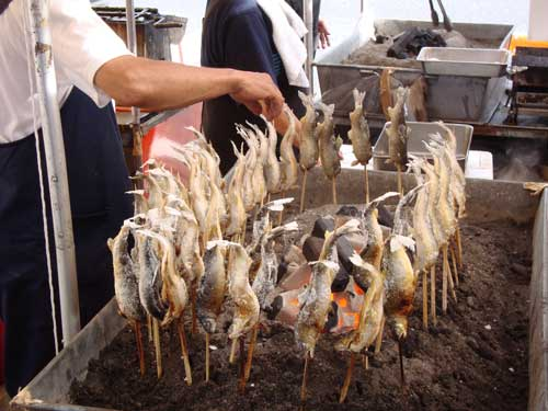 ayu fish at morning glory festival in Iriya