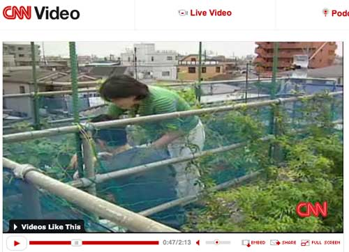 CNN video about Kawasaki eco house with green roof