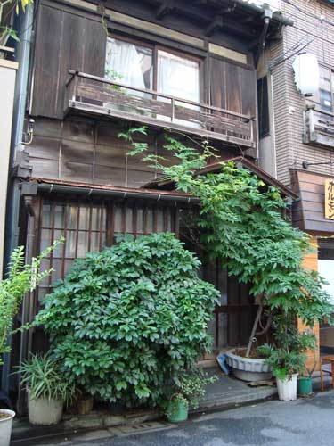 Tsukishima wood house with wisteria