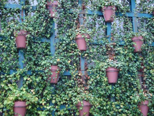 Omotesando vertical garden using ceramic pots