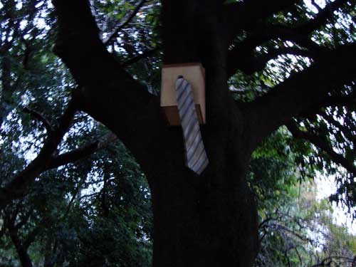 Zenpukuji art in park: birdhouse with tie